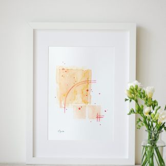 original abstract watercolour painting with orange and peach colours by UK artist Kerri Awosile