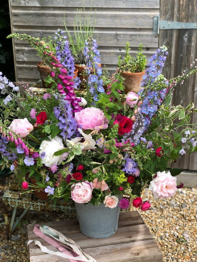 Floral arrangement by Hazel Shaw in her garden