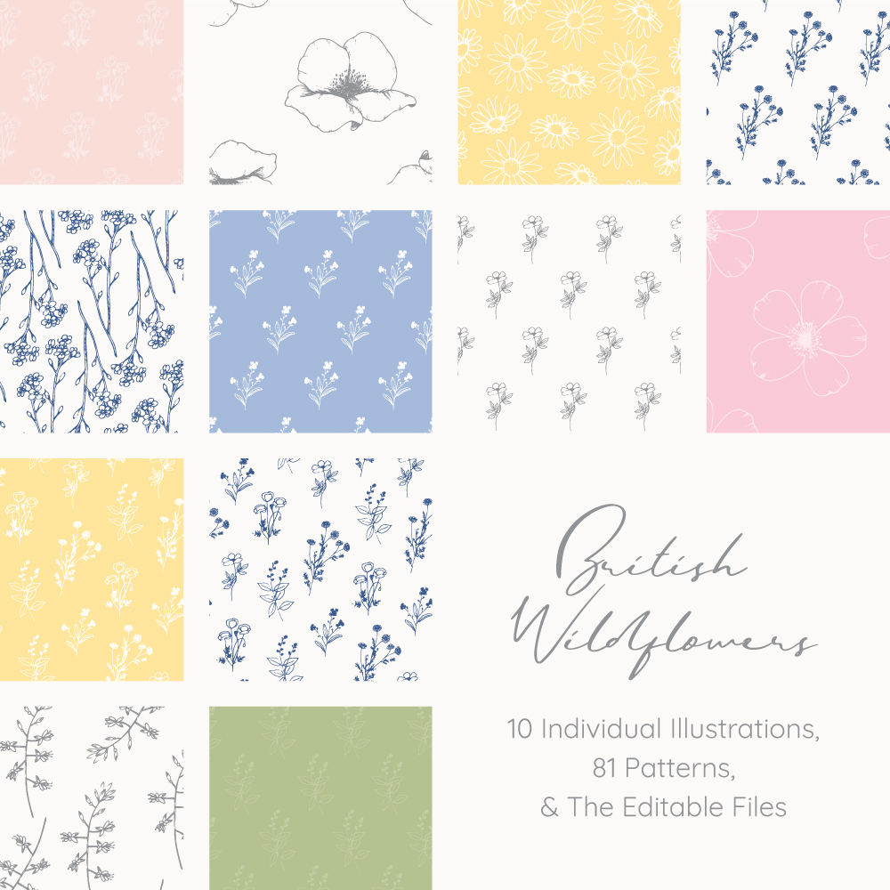 British Wildflowers downloadable illustrations and patterns bundle by Kerri Awosile