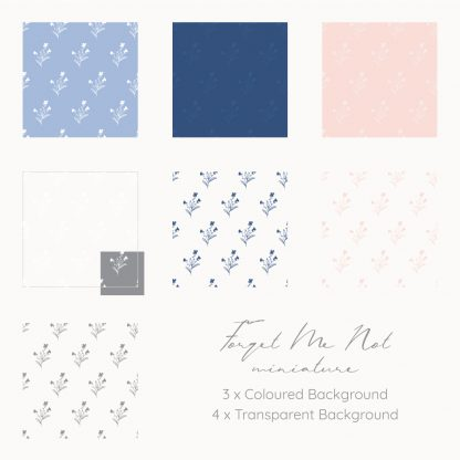 Miniature Forget Me Not patterns by Kerri Awosile