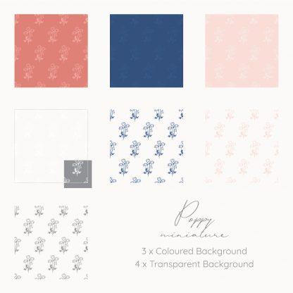 Miniature Poppy patterns by Kerri Awosile