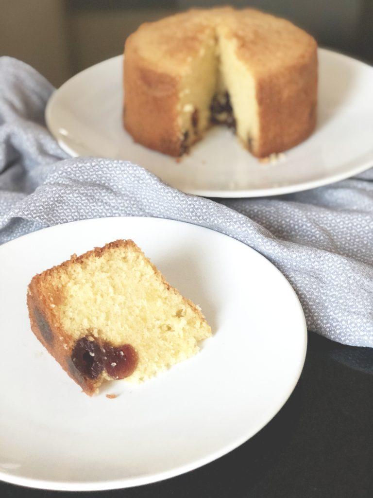 Slice of cherry madeira cake by Kerri Awosile