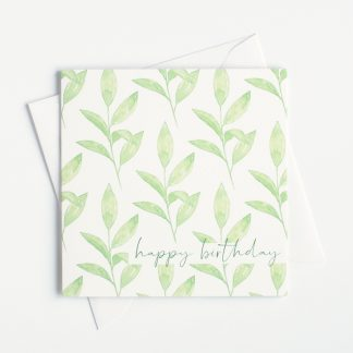 Green Leaves Watercolour Happy Birthday Card by Kerri Awosile