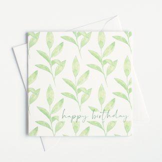 Green Leaves Watercolour Happy Birthday Card by Kerri Awosile