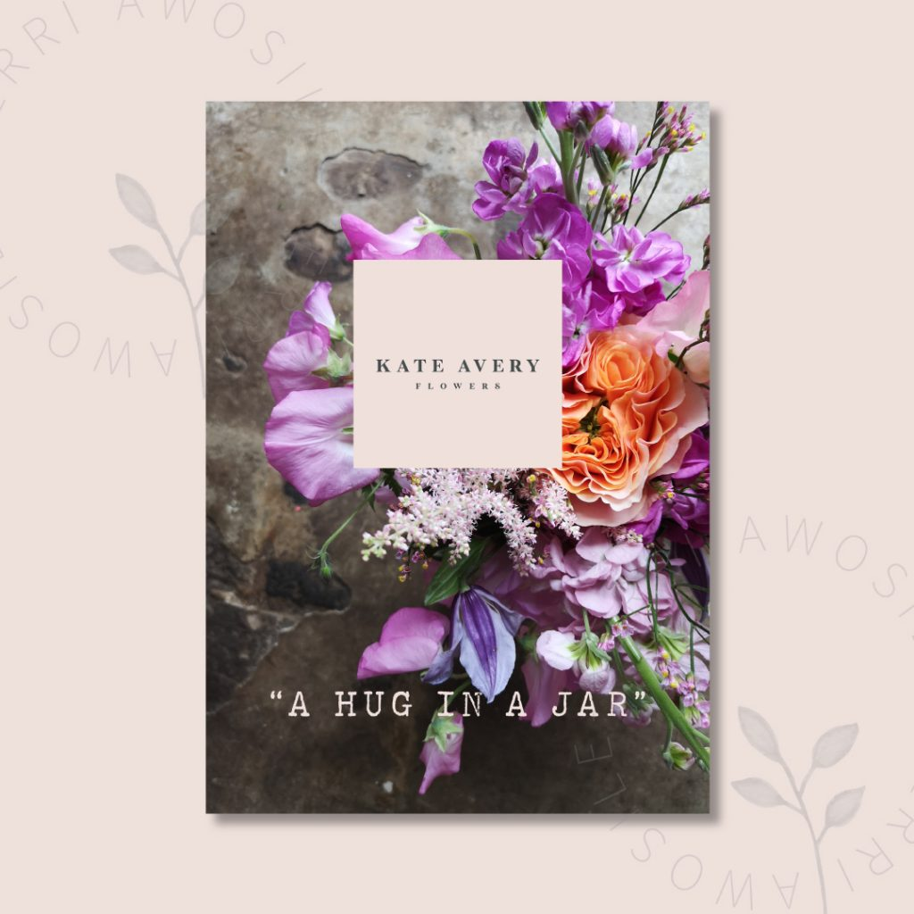 Beautiful and clean PDF design for Kate Avery Flowers by UK graphic designer, Kerri Awosile