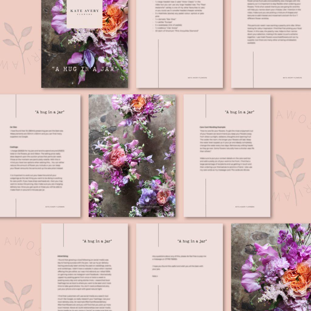 "Beautiful and clean PDF design for Kate Avery Flowers' ""Hugh In A Jar"" tutorial, by UK graphic designer, Kerri Awosile"