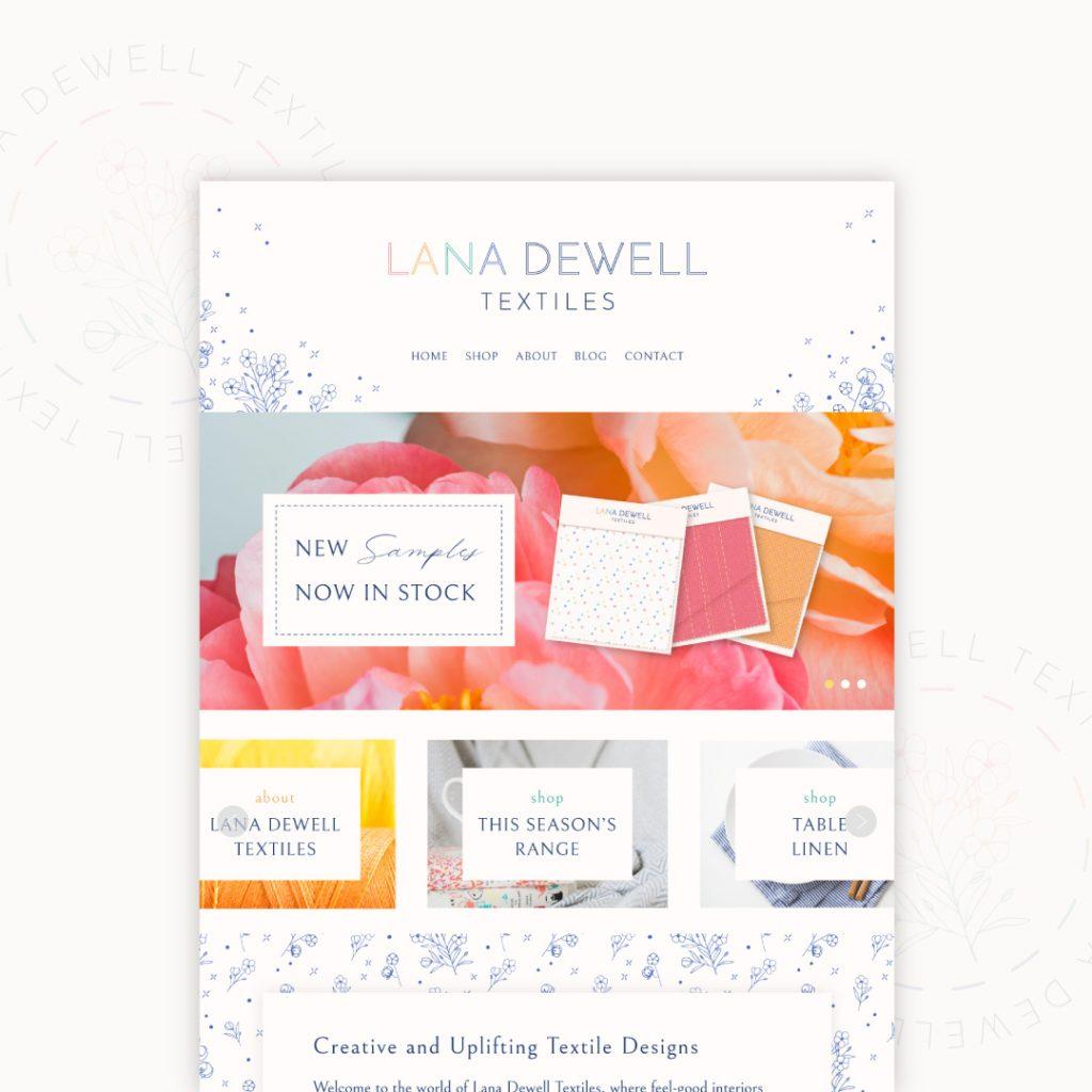 Website design mockup for fictional brand Lana Dewell Textiles by UK designer Kerri Awosile