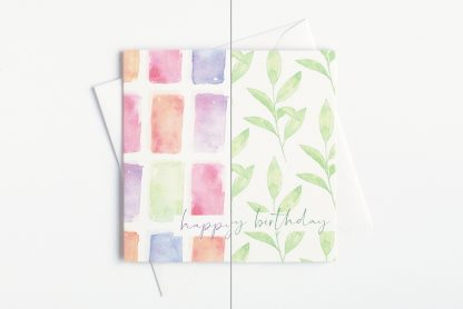 Pack of green leaves or colourful watercolour birthday cards