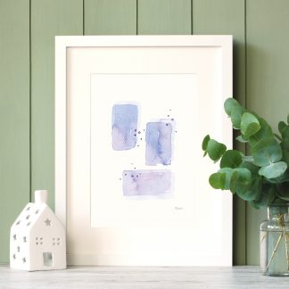 Purple Morning Abstract watercolour painting in white frame by Kerri Awosile with green paneling wall and eycalyptus