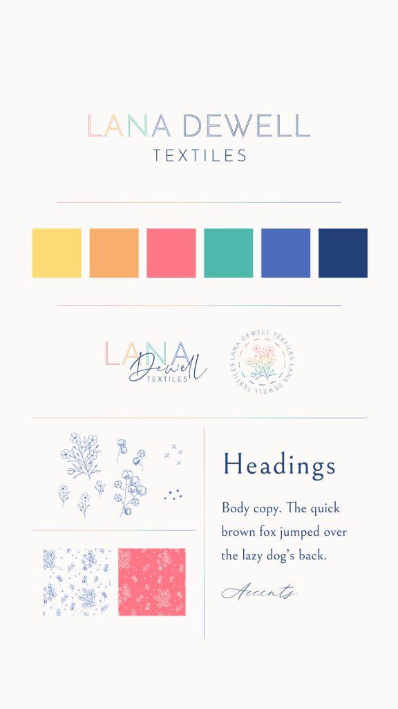 Brand board for The Brandalong fictional branding design Lana Dewell Textiles by UK designer Kerri Awosile