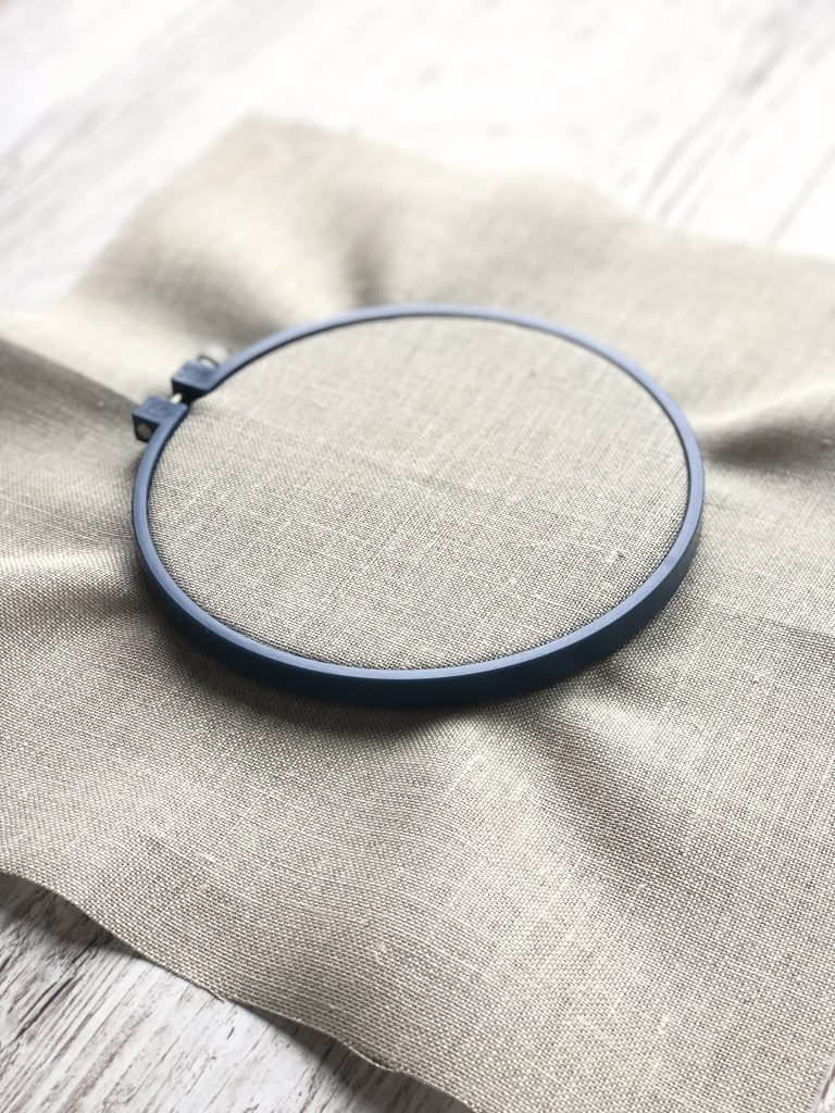 embroidery hoop and linen