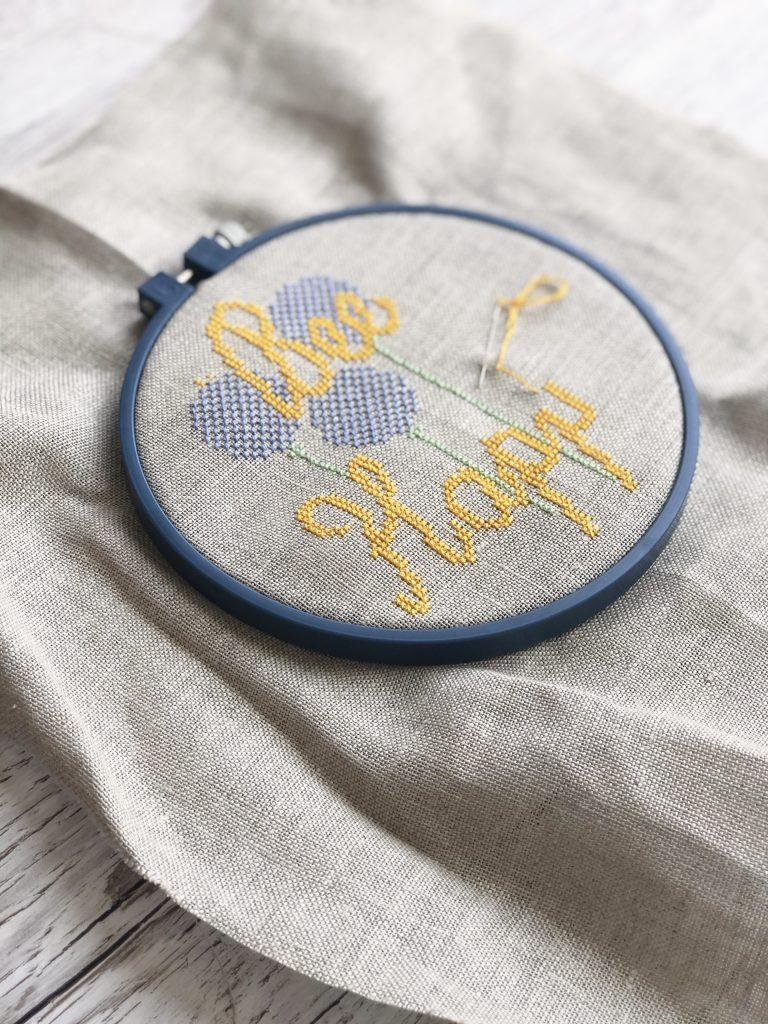 Making progress on cross stitch kit by The Spinneyfield Stitchery for Kerri Awosile blog
