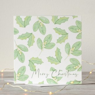 Holly & Snowberry Merry Christmas Card by Kerri Awosile with lights