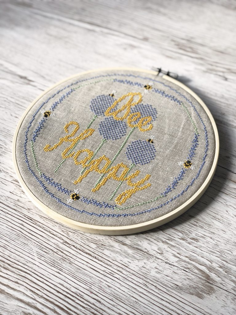 Bee Happy cross stitch design by The Spinneyfield Stitchery on the Kerri Awosile blog