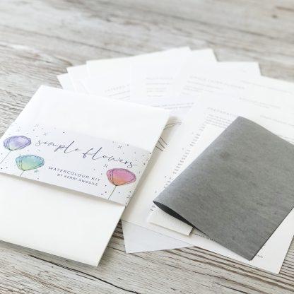 Simple Flowers letterbox Watercolour Kit contents