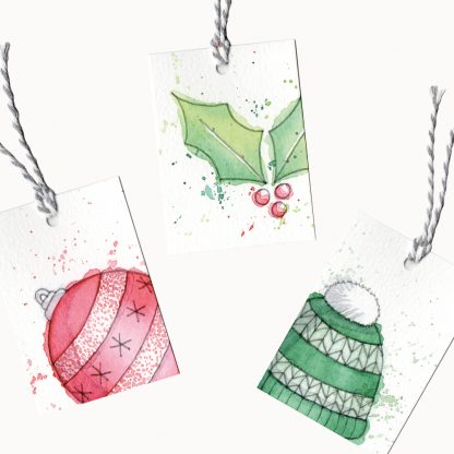 Christmas Gift Tags examples from the watercolour kit by Kerri Awosile