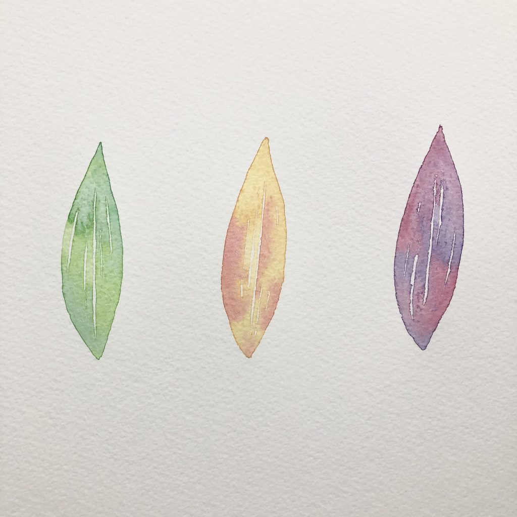 Colourful watercolour leaf exercise for painting for joy, by Kerri Awosile