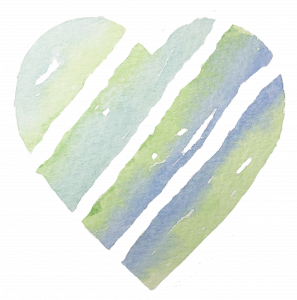 Green, turquoise, and blue watercolour striped heart for Kerri Awosile DIY creative project
