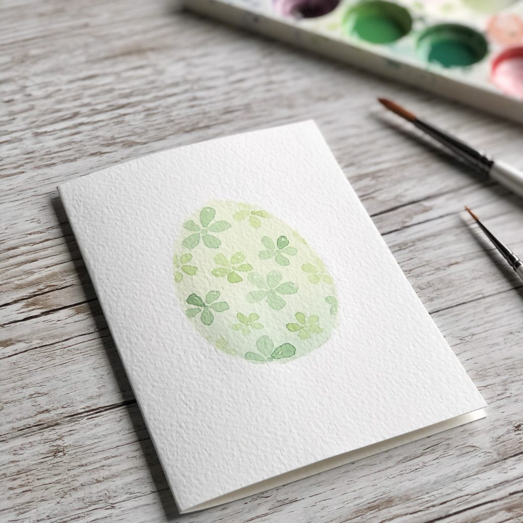 DIY Watercolour Easter Egg Card by UK artist Kerri Awosile