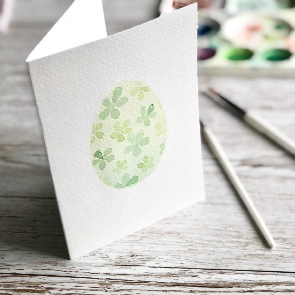 finished DIY watercolour Easter egg card tutorial project by Kerri Awosile