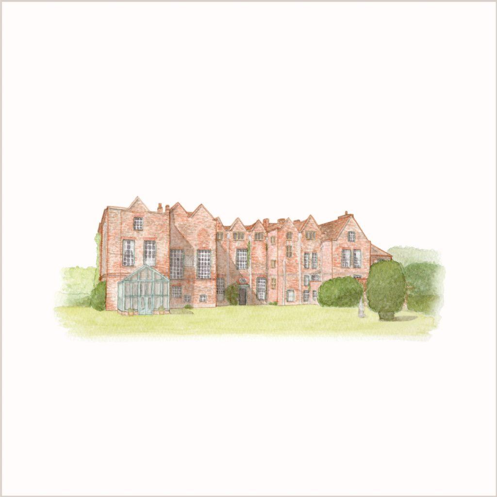 Watercolour wedding venue illustration by UK artist, Kerri Awosile