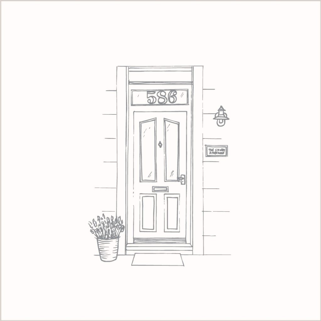 Line-art front door illustration by Surrey UK artist Kerri Awosile