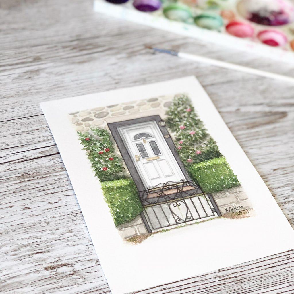 White Watercolour Front Door Illustration